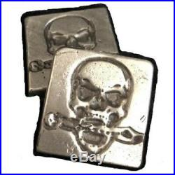 3 Oz MK BarZ Hand Poured Skull Buccaneer Square Bar. 999 FS