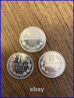 3 X 2012 Guernsey 8 Doubles Coins Silver 1oz, Silver Billion, 999 Silver, Solid