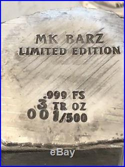 3 tr/oz MK BarZ Iwo Jima 1945.999 FS POURED CHUNKY NUGGET Square LTD 500