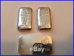 3 x 100g (300 gram) Solid Silver Bullion Bars 999.0 Silver, Umicore and SAO