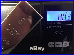 #4. 8 OZT 100% Solid. 999 Pure Fine Silver Handmade Ingot Poured Bullion Bar
