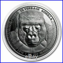 4 x 1oz Solid Silver Coins Gorilla & Lion Congo & Tchad Silverbacks 2015/16/17/1