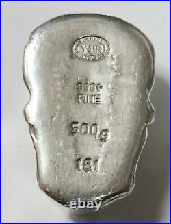 500 grams. 999 SOLID SILVER POURED SKULL 16 oz BAR YPS YEAGER PRECIOUS METALS