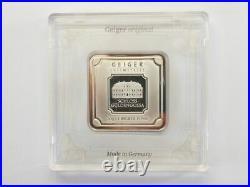 50 GRAM Silver Geiger Square Silver Bar. 999 Fine Silver Ingot in Assay