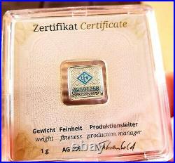 50 Geiger Edelmetalle 1 gram. 999 Fine Silver Square Bar Encapsulated with Assay