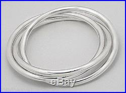 52.6g Solid Sterling Silver 3 Intertwined Bangle Bracelet Slip On 8 wrists 70mm