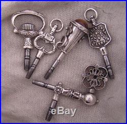 5 FIVE SOLID SILVER 0.800 Keys Incl. A Crank One For Antique Watches PERFECT
