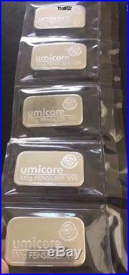 5 X 100 Gram Umicore Silver Bullion Bars Sealed 999 Solid Silver