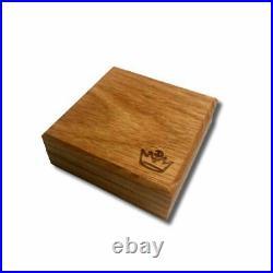 5 oz. Dragon vs. Viking. 999 Fine Silver Ultra High Relief In a Solid Oak Box