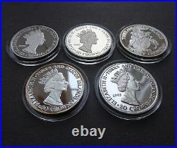 5 x 1 oz Fine 999 Silver Proof Coins. Five 1oz 999 solid silver. 5oz total 5 oz
