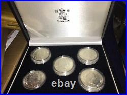 5 x 1oz 2010 Silver Britannia Proofs 24K Gold Onlay 5oz Pure solid Ag Bullion