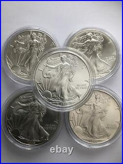 5 x 1oz of Solid. 999 Silver American Eagle Coins 1990/94 + 2009/16/20