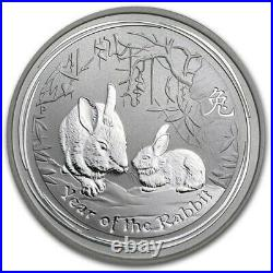 5 x 2011 Lunar Rabbit 50 Cent 1/2 ounce 999 solid silver coins New
