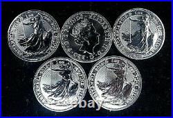 5 x 2018 1oz Solid Silver UK Britannia Coins from sealed tube
