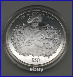 5oz SOLID SILVER PROOF BULLION COIN 50$ SIERRA LEONE, 2002, COA + BOX, RARE