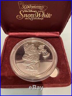 5oz Solid Silver DISNEY DOC SNOW WHITE 50TH ANNIVERSARY RARE 999 SILVER COA