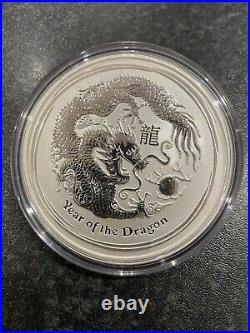 5oz Year Of The Dragon 2012.999 Solid Silver Coin, Perth Mint Lunar Series 2