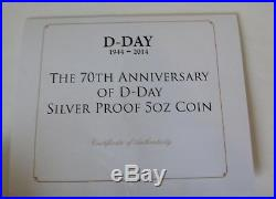 5oz solid. 999 fine / pure silver COIN D Day 70th Anniversary 2014 & COA IOM