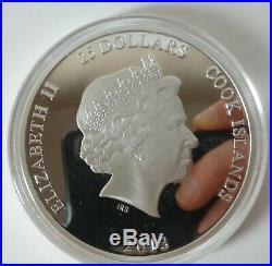 5oz solid silver proof $25 coin Cook Islands 2013 Ltd ed 27 / 450 box & COA 1235