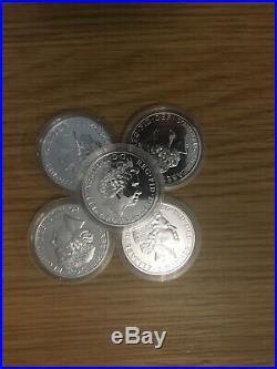 5x 2014 BRITANNIA MULE SOLID SILVER BULLION COIN WITH LUNAR HORSE OBVERSE £2 04