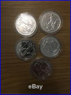 5x 2014 BRITANNIA MULE SOLID SILVER BULLION COIN WITH LUNAR HORSE OBVERSE £2 05