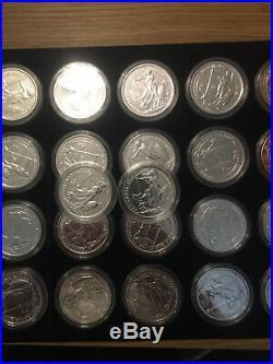 5x 2014 BRITANNIA MULE SOLID SILVER BULLION COIN WITH LUNAR HORSE OBVERSE £2 2