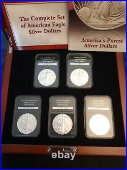 5x Complete Set American Eagle Solid Silver Dollars Proof Reverse Enhanced bu