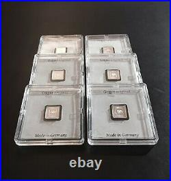 (6) Geiger 1 gram Silver Square Bars Encapsulated with Assay 6 Sequential SN's