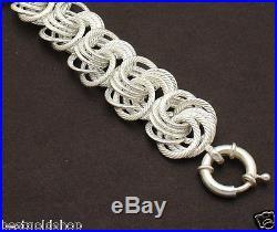 7 Bold Textured Rosetta Link Bracelet Real Solid 925 Sterling Silver 28.6gr