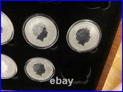 7 x 1/2oz (0.5oz) Solid Silver Lunar Series 2 Coin Set & Case. 2012-2018