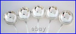 #8037- Whiting Madam Jumel Sterling Silver Bullion Soup Spoon Set (5) Mono = G