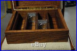 (80) slabs solid american red oak storage coin box for pcgs coins