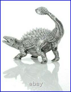 8 Troy Oz Silver Dinosaur Statue Solid Silver Ankylosaurus Statue Very Rare