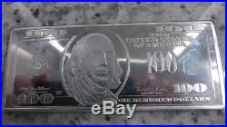 999 Solid Silver Bar $100 Bill Bar One Troy Pound Ben Franklin Rare