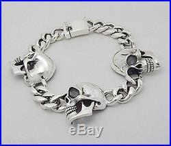 9 NEW Solid Sterling Silver 26mm Skull Link Bracelet 63.6 grams HEAVY