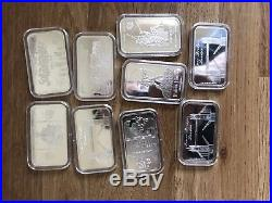 9 X 1oz Pure Solid Silver. 999 Bars, Various Designs