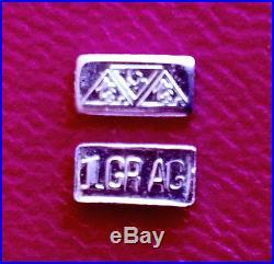 ACB (1000 PACK) INGOT Silver SOLID BULLION MINTED 1 GRAIN BARS 99.9 FINE Ag