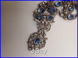 ANTIQUE 1800s SOLID SILVER PALE BLUE GLASS PASTE LAVALIERE NECKLACE