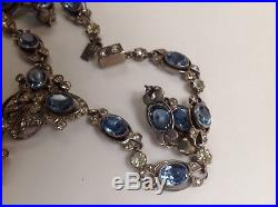 ANTIQUE 19th Century SOLID SILVER FRENCH PASTE LAVALIERE PENDANT NECKLACE