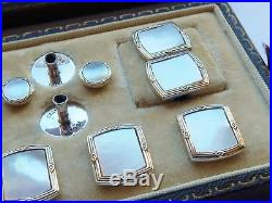 Antique Art Deco 14ct Yellow Gold Border & Solid Silver Cufflink Dress Set Boxed