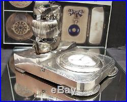 Antique C1907 Iwc Shauffhausen Solid 900 Silver Super Rare Naval Desk Stand Wow