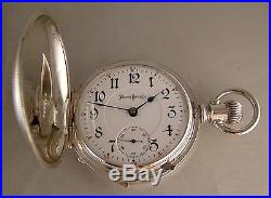 ANTIQUE ILLINOIS BUNN SPECIAL 24j SOLID SILVER HUNTER CASE 18s POCKET WATCH 1897