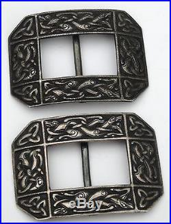 Antique Iona Alexander Ritchie Solid Provincial Silver Pair Buckles Scottish