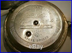 ANTIQUE OLD 84 POCKET WATCH SOLID SILVER 875 GEOGES FAVRE JACOT ENAMEL, 1920's