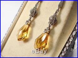ANTIQUE SOLID SILVER PASTE DROP EARRINGS. (screw fitting)