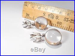 ANTIQUE SOLID SILVER ROCK CRYSTAL (pools of light) DROP EARRINGS