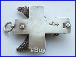ANTIQUE VICTORIAN SOLID SILVER GOTHIC EAGLE CROSS MEDAL c1856 BY A. D. L LONDON