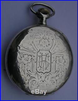 ANTIQUE ZENITH OPEN FACE SOLID SILVER 0.800 POCKET WATCH SWISS 1900's