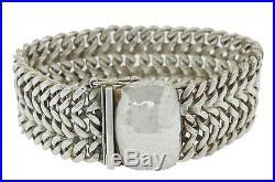 AREIAS Designer Modern Estate 925 Solid Silver Filigree Chain Link Bracelet 70.7
