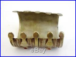 ATQ Silver Carnelian Solid Claw Cuff Bracelet Nineteenth Century Turkmenistan